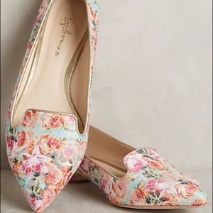 Guilhermina Anthro Floral Pointed Toe Pink Flats
